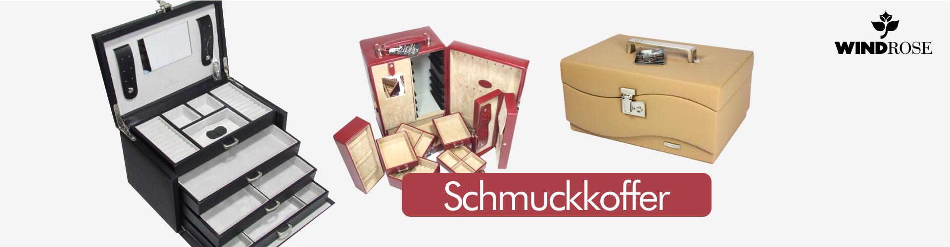 WINDROSE Merino Schmuckkoffer 6 seitliche Schubladen Schmuckschatulle Schwarz
